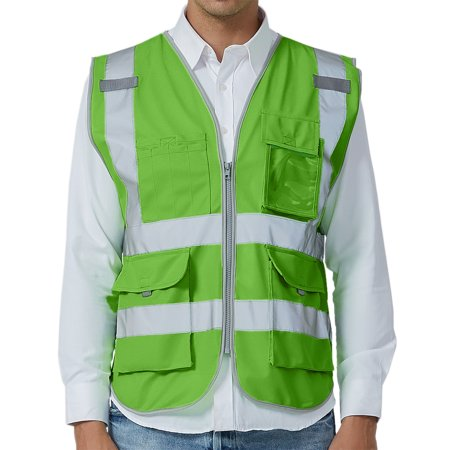 TOPTIE High Visibility Safety Vest with 9 Pockets, Zipper, Reflective Strips, ANSI ISEA Standards-Green-XL (High Vis Safety Green)