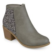 Brinley Co. Women's Faux Leather Wood Stacked Heel Glitter Booties