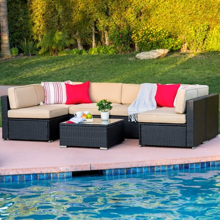 Best Choice Products 7-Piece Modular Outdoor Patio Furniture Set, Wicker Sectional Conversation Sofa w/ 6 Chairs, Coffee Table, Weather-Resistant Cover, Seat Clips, Minimal Assembly Required - Black