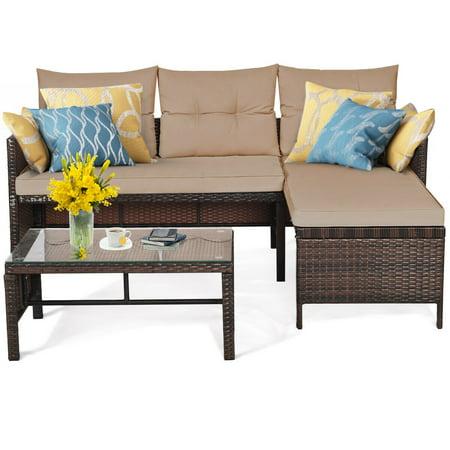 Costway 3PCS Patio Wicker Rattan Sofa Set Outdoor Sectional Conversation Set Garden Lawn - image 4 of 9