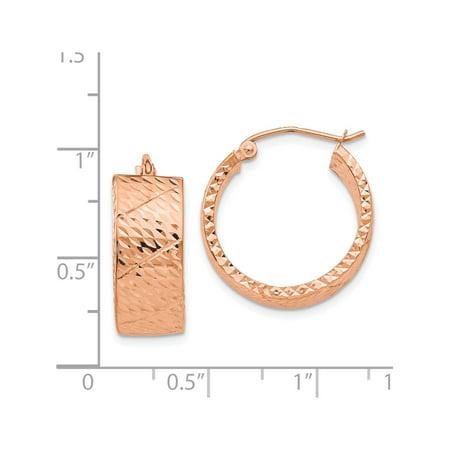 14k Rose Gold Rose Diamond Cut Hoop (8x22mm) Earrings - image 2 of 3