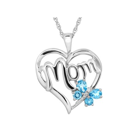 1/2 ct Natural Swiss Blue Topaz 'Mom' Heart Pendant Necklace with Diamond in Sterling Silver Blue Topaz Heart Cross