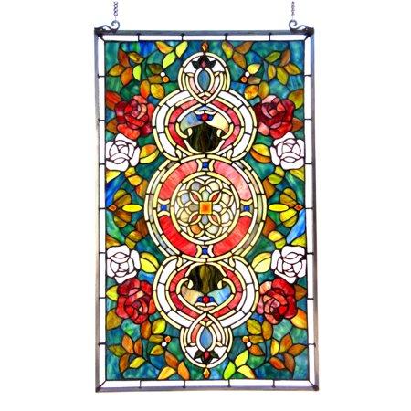 CHLOE Lighting EUREKA SONARATiffany-glass Victorian Window Panel 20x32