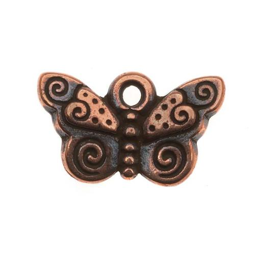 Copper Plated Pewter Spiral Butterfly Charm 15mm (1)