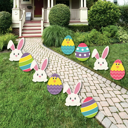 Hippity Hoppity - Easter Bunny & Egg Yard Decorations - Outdoor Easter Lawn Decorations - 10 Piece ()