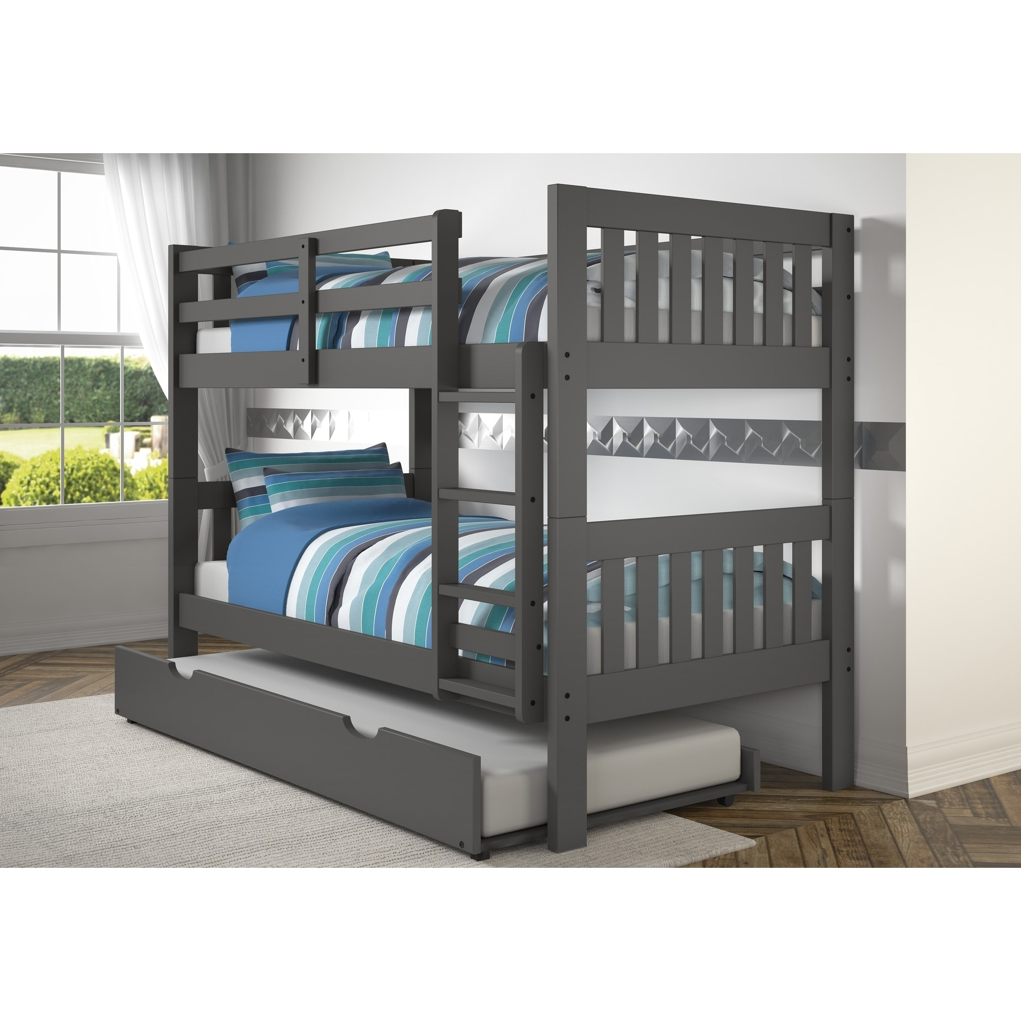 Twin Over Mission Bunk Bed With Storage Drawers In Dark Gray Finish