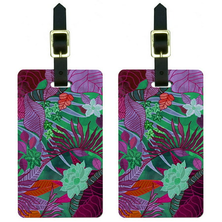 Tropical Forest Magenta Purple Teal Luggage Tags Suitcase Carry-On ID, Set of 2