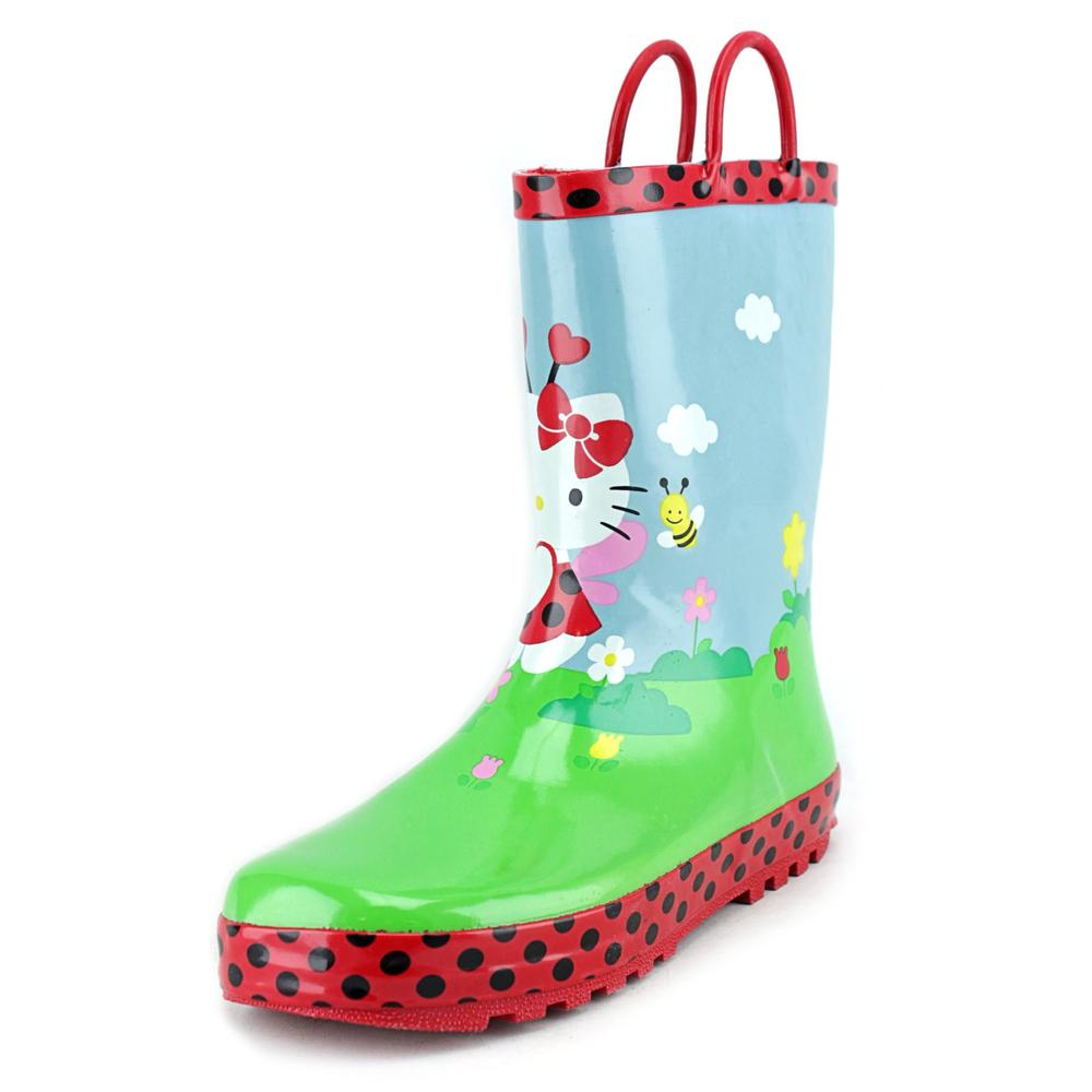 Western Chief Hello Kitty Lady Bug Garden   Round Toe Synthetic  Rain Boot