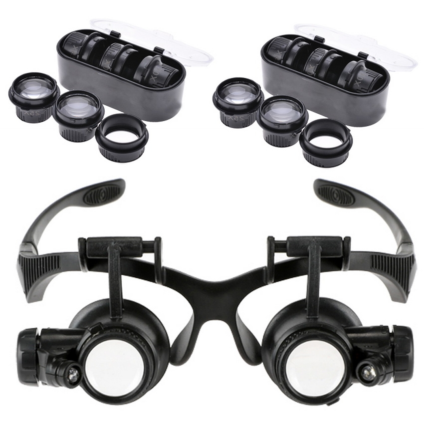 10X 15X 20X 25X Jeweler Watch Repair Magnifying Double Eye Glasses Loupe Lens LED Light Head Magnifier