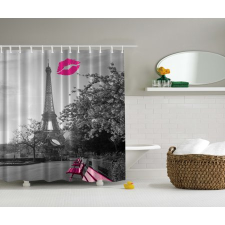 Paris France Tower - Eiffel Tower Decor Paris Monochrome and French Kiss Romance Art Shower Curtain