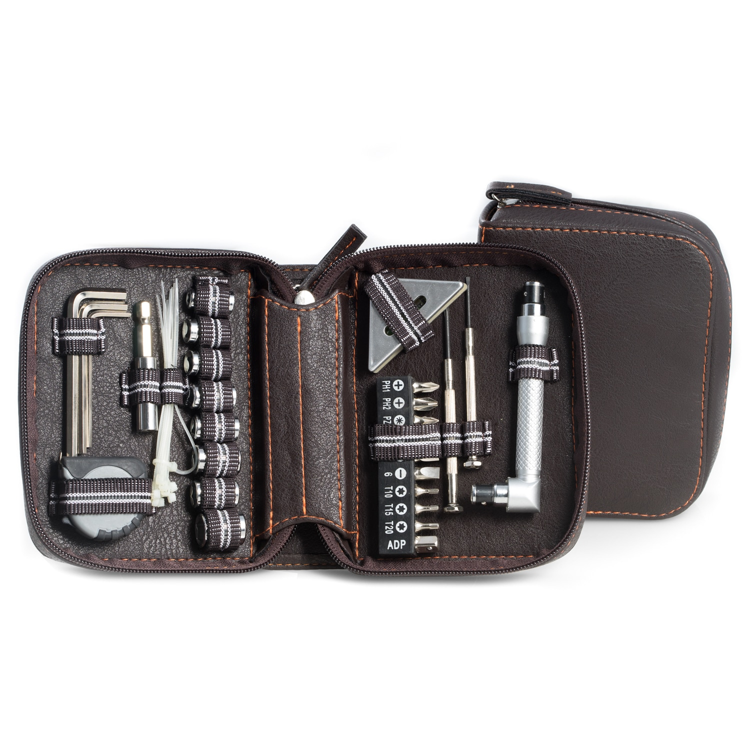 Bey Berk 42 Pc. Tool Set In Brown Zippered Leatherette Case
