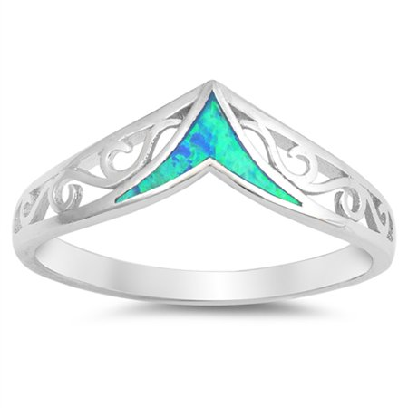CHOOSE YOUR COLOR Blue Simulated Opal Filigree Chevron Swirl Ring .925 Sterling Silver Band