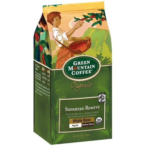 Green Mountain Coffee Organic Sumatran Reserve Regular Medium Roast Whole Bean Coffee, 10 oz
