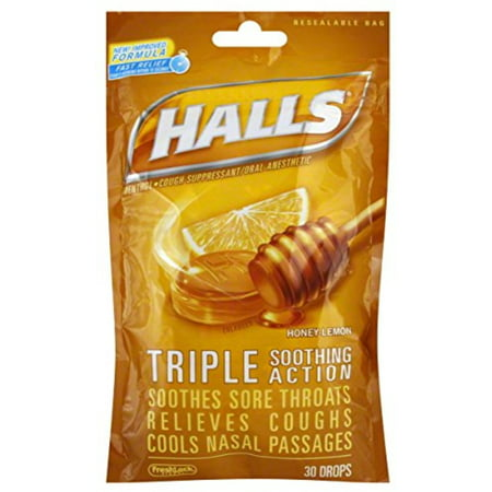 Halls Triple Soothing Action Cough Drops  Honey Lemon 30 Each  Pack Of 6