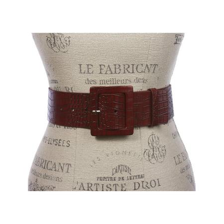 "2 1/4"" Wide Ladies High Waist Croco Print Patent Leather Fashion Belt"