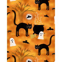 Clearance Sale~Spooky Vibes Halloween Cats Cotton Fabric by Wilmington Prints - Halloween Cat Fabric