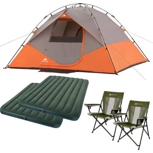 Ozark Trail 6 Person Dome Tent with 2 Queen Airbeds and 2 Chairs Value Bundle