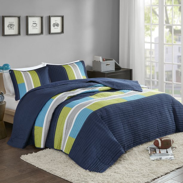 Comfort Spaces Pierre Mini Quilt Set, Twin/Twin XL, Blue/Navy