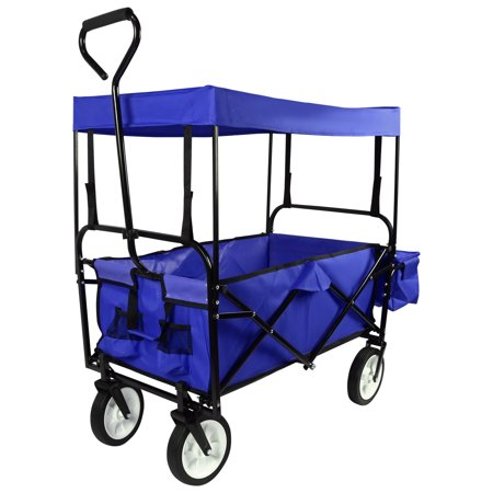 Image of Geniqua Blue Utility Collapsible Folding Wagon Cart w/Canopy Garden Beach Toy Sport Buggy