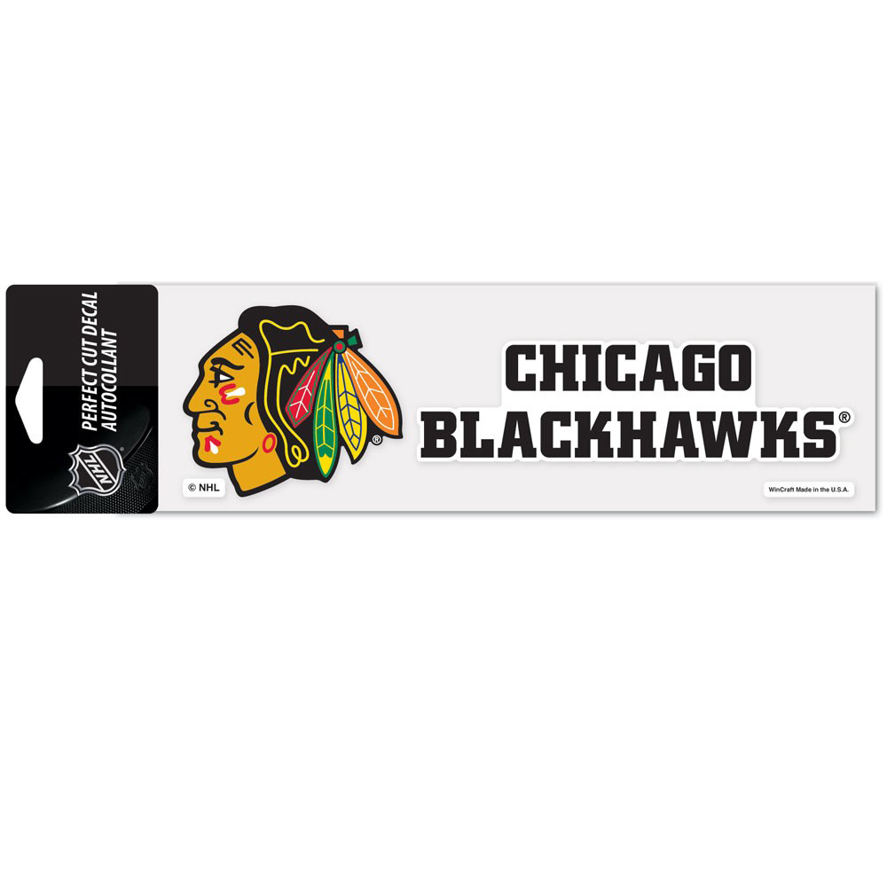 "Chicago Blackhawks WinCraft 3"" x 10"" Logo & Name Perfect Cut Decal - No Size"