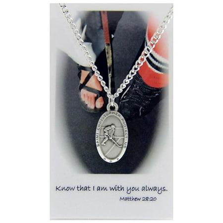 Pewter Saint Christopher Boys Hockey Sports Medal Pendant with Prayer Card, 1 Inch