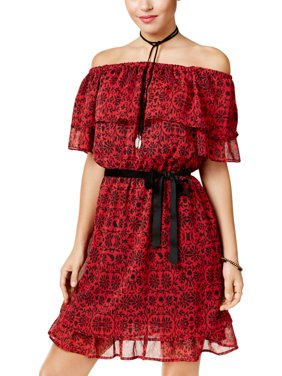Disney Womens Juniors Snow White Off-The-Shoulder Printed Mini Dress Red S