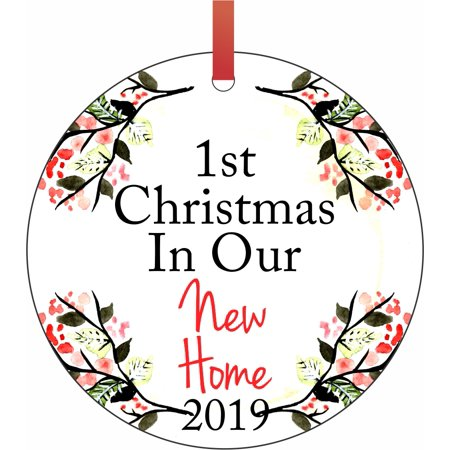 1st Christmas in Our New Home 2019 - 1st House New Home First Round Shaped Flat Semigloss Aluminum Christmas Ornament Tree Decoration ()