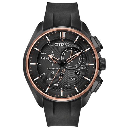 Mens Polyurethane Strap (NWT Citizen Men's Eco-Drive Proximity BZ1044-08E Polyurethane Strap with Black, Pink Gold-Tone Accents, Power Reserve Indicator Dial Watch )