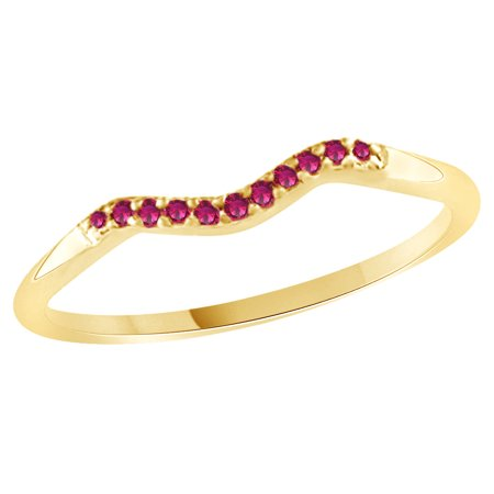 Ruby Gold Wedding Bands - Round Cut Simulated Ruby Curved Wedding Band Ring In 14k Yellow Gold Over Sterling Silver