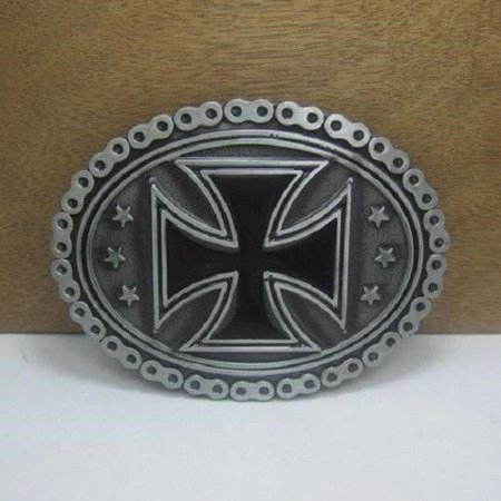 Black Maltese Cross Bike Chain Biker Belt Buckle Biker rider buckle