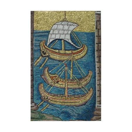 The Roman Galleys. Mosaic from Ravenna, Copy Print Wall