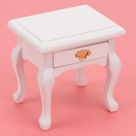 OTVIAP 1/12 Doll House Wooden Furniture Miniature Vintage White Bedside Table Nightstand Model ,Doll House Wooden Furniture, Doll House Bedside Table