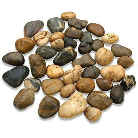 Katzco 2 Pounds Small Decorative River Rock Stones - Natural Polished Mixed Color Stones -Use in Glassware, Like Vases, Aquariums and Terrariums to Enhance The Appearance