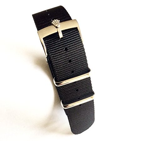 20mm Nato Nylon Replacement Watch Strap Band Black with Polish Rolex Buckle Fit Rolex Diver Submariner GMT II ()