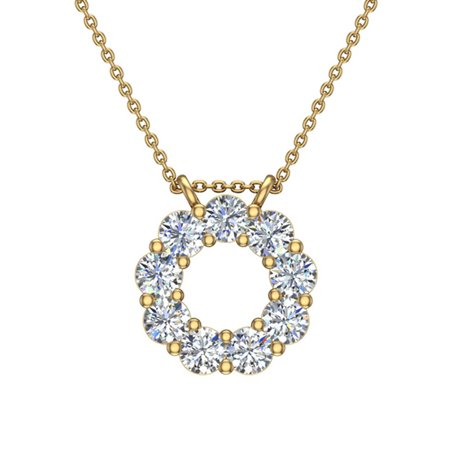 0.80 ct Circle Diamond Pendant Necklace 14K Yellow Gold with 18