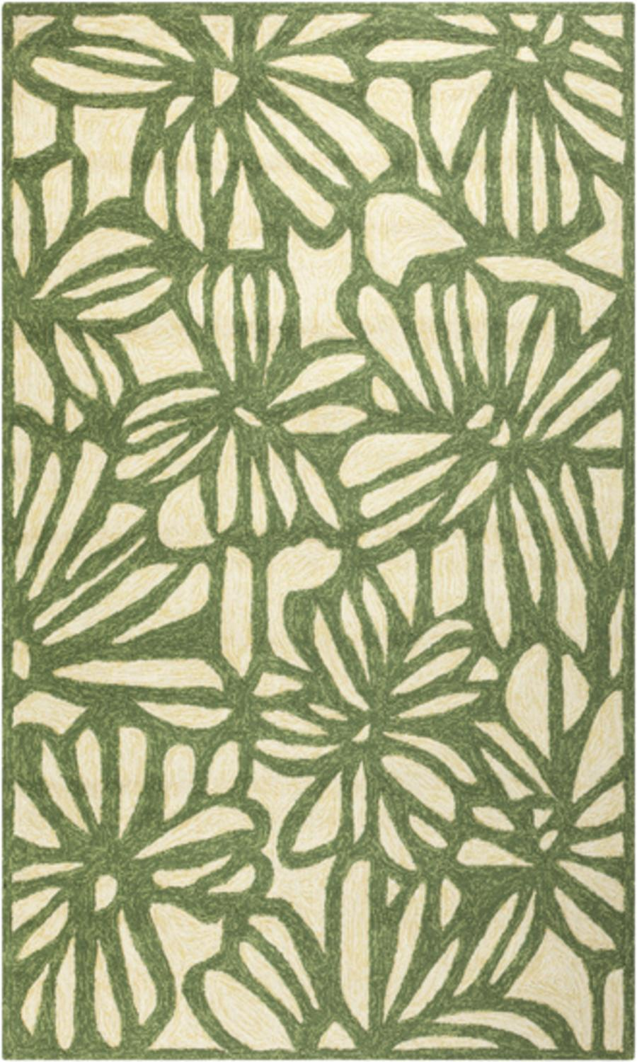 8' x 10.6' Floral Sketch Spruce green and Ivory Indoor Outdoor Area Throw Rug by Diva At Home