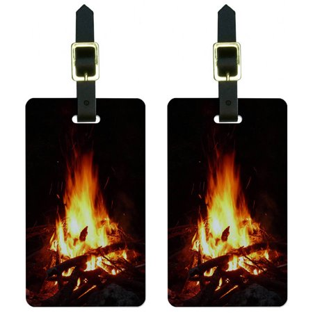 Campfire Camp Camping Fire Pit Logs Flames Luggage Tags Suitcase ID, Set of 2