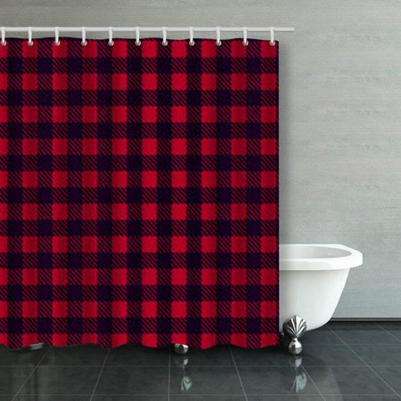 BPBOP Black Red Seamless Tablecloth Buffalo Plaid Pattern Shower Curtains Bathroom Curtain 66x72 Inch ()