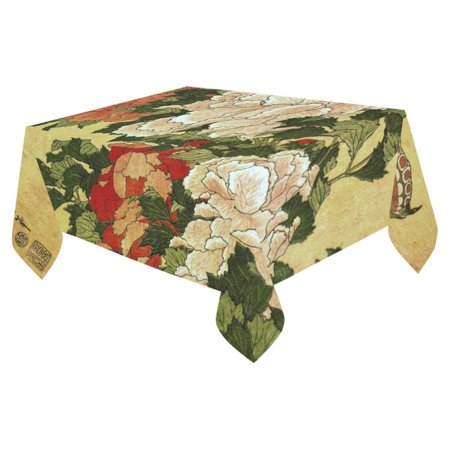 MYPOP Peonies Butterfly Hokusai Japanese Floral Nature A Cotton Linen Tablecloth 52x70 inches Tablecover Desk Table Cloth For Dining Room, Tea Table, Picnics, Parties - Tea Party Table