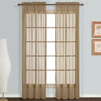 "Decotex 1 Piece Elegant Solid Sheer Window Curtain Panels Treatment Drapes (55"" X 36"", White)"