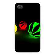 Apple Iphone Custom Case 5 / 5s AND SE White Plastic Snap on - Marijuana Weed Leaf Silhouette w/ Red, Yellow, Green & Black (Leaf Primrose Five Light)