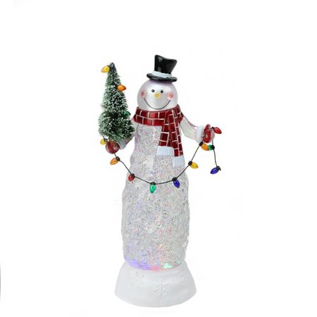 The Holiday Aisle Swirling Glitter LED Lighted Snowman Christmas Indoor - Giant Snowman Decoration