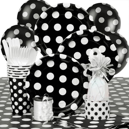 Black Polka Dot Party Supplies Kit for 8 - Polka Dot Party Ideas