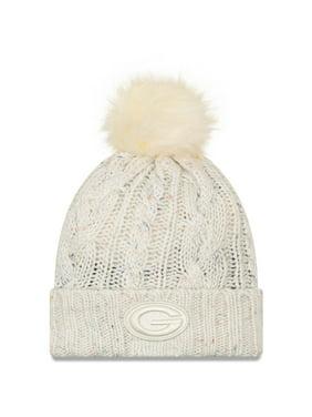 Green Bay Packers New Era Women's Cuffed Knit Hat with Fuzzy Pom - Cream - OSFA