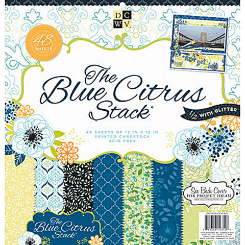 DCWV Cardstock Paper: The blue Citrus Stack, 12 x 12, 48 pack