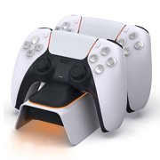 PS5 Controller Charger for Playstation 5 Charging Station with LED Indicator High Speed Fast Charging Dock for Sony DualSense Controller ( White )