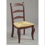 Classic Ladder-Back Dining Chair w Red Finish & Woven Rush Seat
