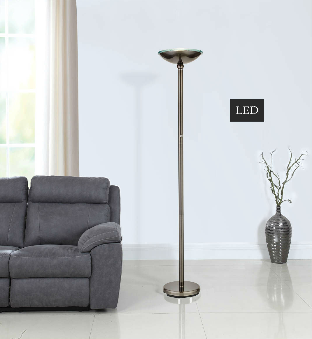 "Artiva USA Saturn 71"" Brushed Black Steel LED Floor Lamp w/ Dimmer"