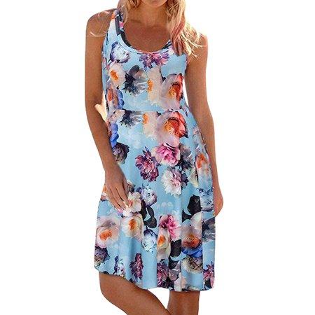 ZXZY Women Sleeveless Floral Print Scoop Neck Dress Pleated Swing Midi