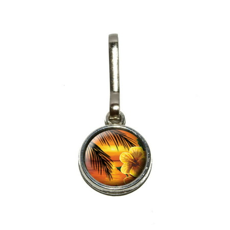 Flower Print Zipper - Orange Beach Sunset with Hibiscus Flower - Palm Tree Ocean Vacation Hawaiian Charm Zipper Pull